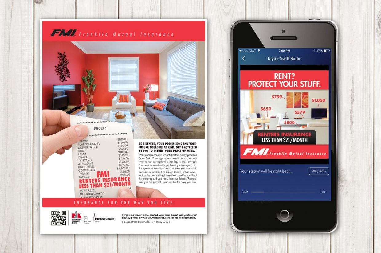 Renters Inurance Print, Digital Radio, Digital Advertising and Transit Posters